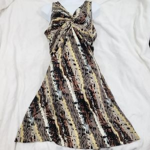 🌻Brown Tan Abstract Painted Stripes Summer Dress